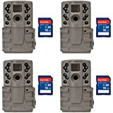 Moultrie A20 12MP Infrared Mini Game Camera, 4 Pack + 16GB SD Cards
