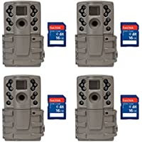 Moultrie A20 12MP Infrared Mini Hunting Game Trail Camera, 4 Pack + SD Cards