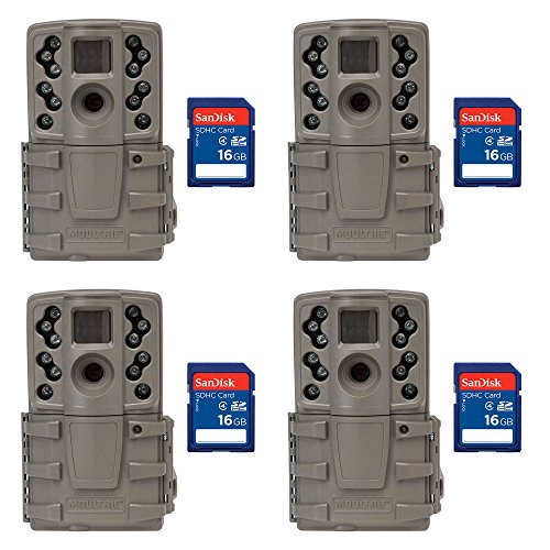 Moultrie A20 12MP Infrared Mini Game Camera, 4 Pack + 16GB