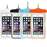 """4PACK Waterproof Case Universal CellPhone Dry Bag Pouch CaseHQ for Apple iPhone 6S, 6, 6S Plus, SE, 5S, Samsung Galaxy S7, S6 Note 5 4, HTC LG Sony Nokia Motorola up to 5.7"""" diagonal"""