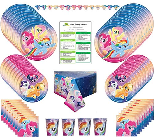 My Little Pony Birthday Party Supplies Pack: Big/Small Plates, Cups, Napkins, Table Cover, Banner- 16 Guests