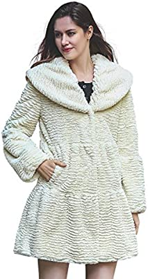 Adelaqueen Womens Vintage Style Luxury Faux Fur Coat with Lotus Ruffle Collar