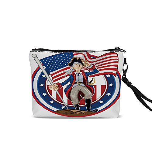 United States Makeup Brush Bag,American Patriot Emblem Cartoon Style Fourth of July Decor Country History For Women Girl,9
