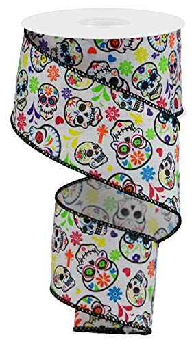 Day of The Dead Sugar Skulls Wired Edge Ribbon, 10 Yards (White, 2.5