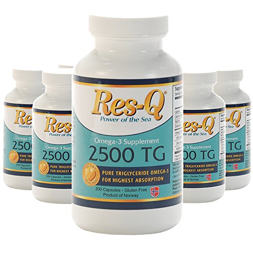 Omega-3 Fish Oil Mini Gel Capsules 6-Pack 200-ct Res-Q 2500 TG by ResQ