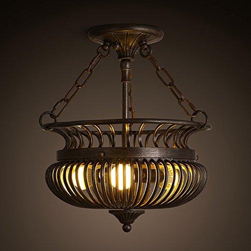 BLYC- Amerikanische retro halben Käfig Deckenleuchte Lampe Dorf Wohnzimmer Esszimmer Kunst Vogelkäfig Schmiedeeisen 375 * 385mm