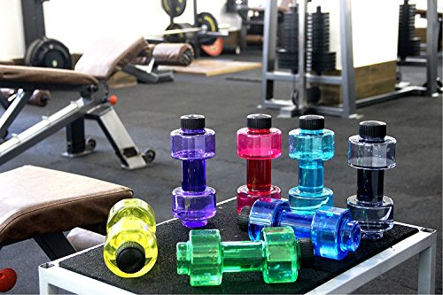 Getko With Device Plastic Dumbbell Water Fridge Bottle for Gym Lovers,Pack of 1(Multi Color)
