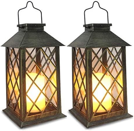 Solar Lantern,Outdoor Garden Hanging Lanterns,Set of 2,Waterproof LED Flickering Flameless Candle Mission Lights for Table,Outdoor,Party Decorative