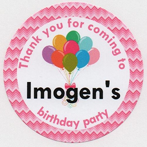 A4 sheet of glossy personalised thank you for coming party bag stickers choice