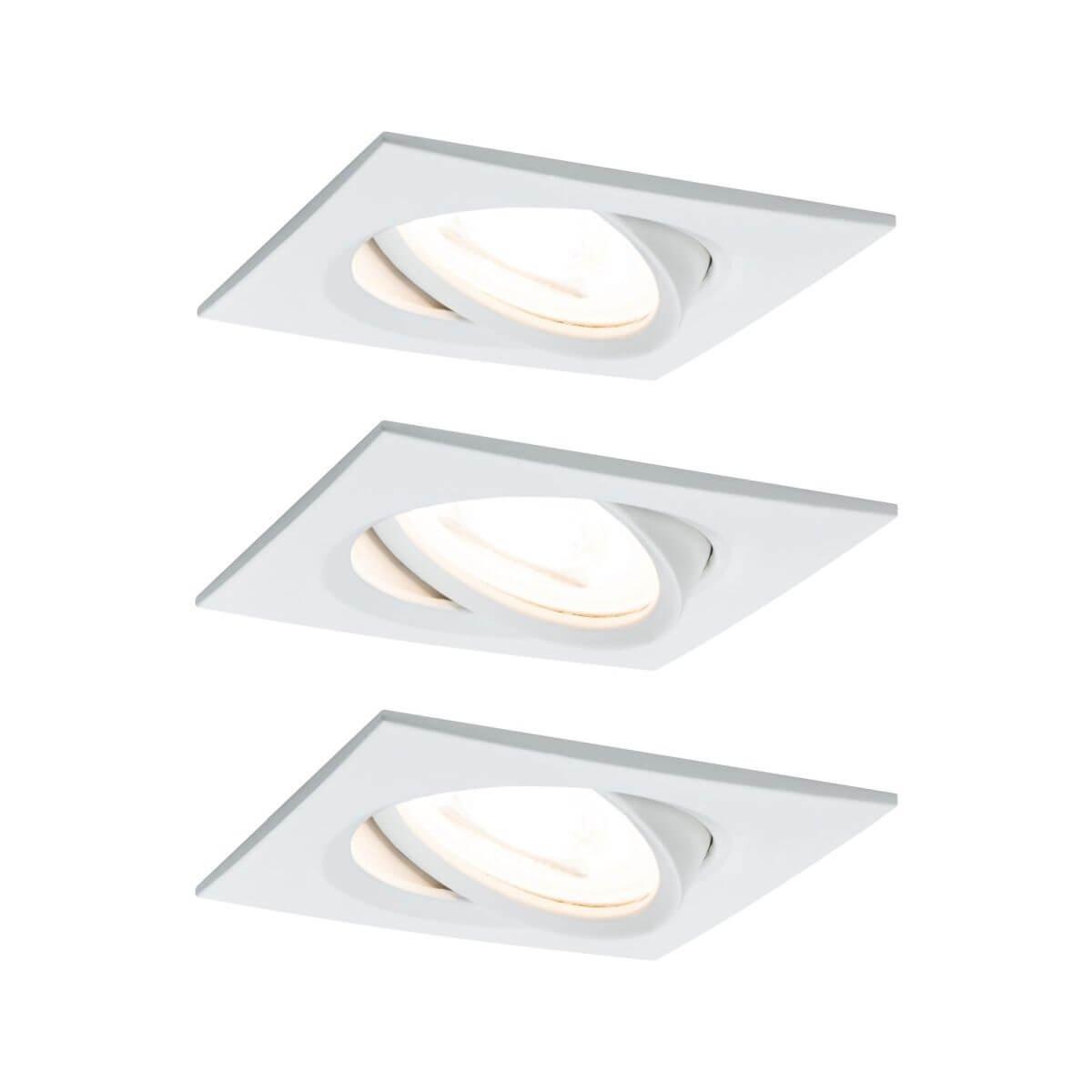 Paulmann Einbauleuchte LED Coin Nova eckig 6,5W Weiß 3er-Set schwenkbar IP23 sprühwassergeschützt