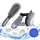 PartLove Tire Brush - Car Rim Cleaner Kit - 2 Tire Rim Scrub Brush Soft Alloy Brush Cleaner and 1 Premium Microfiber Wax Applicator for Auto Motorcycles Bicycles Wheel Brush Cleaning