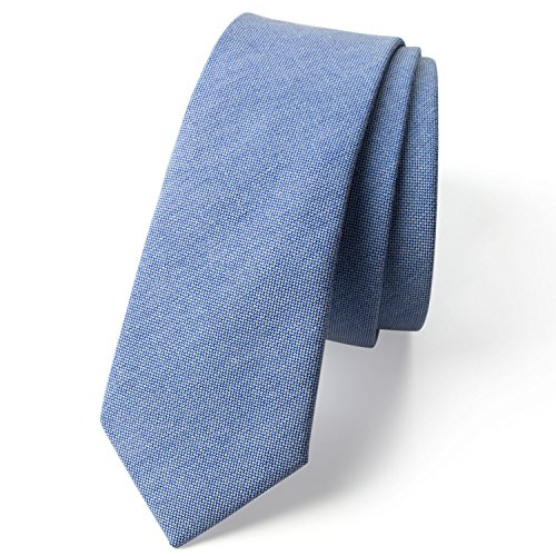 Spring Notion Men's Solid Color Chambray Cotton Skinny Tie, Light (Chambray Tie)