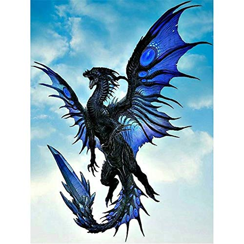 5D Diamond Painting Kits for Adults Diamond Painting Full Drill for Home Wall Decor Flying Dragon 11.8x15.7in 1 by Lighting S Direct