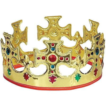 Crown Jeweled Plastic (Gold Plastic Jeweled King Crown Majestic Gold King's Crown Measures 22
