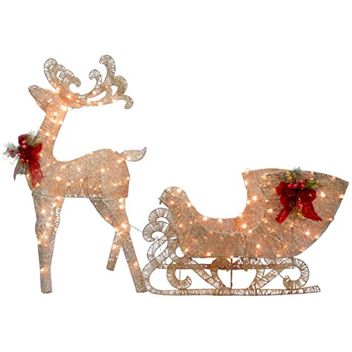 National Tree Reindeer and Santa's Sleigh with LED Lights (Outside Decoration For Christmas)