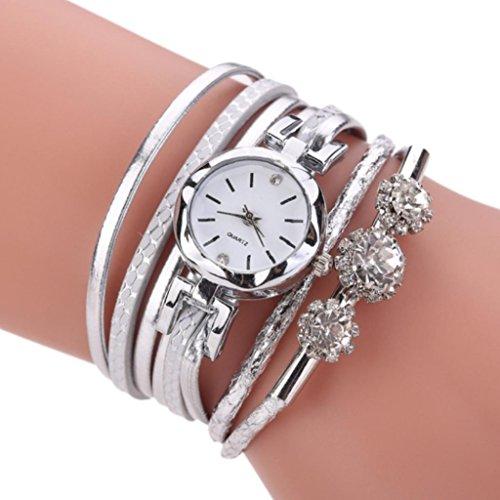 Braceus Women Multilayers Faux Leather Analog Quartz Bracelet Bangle Wrist Watch (White) Faux Leather Bangle Watch