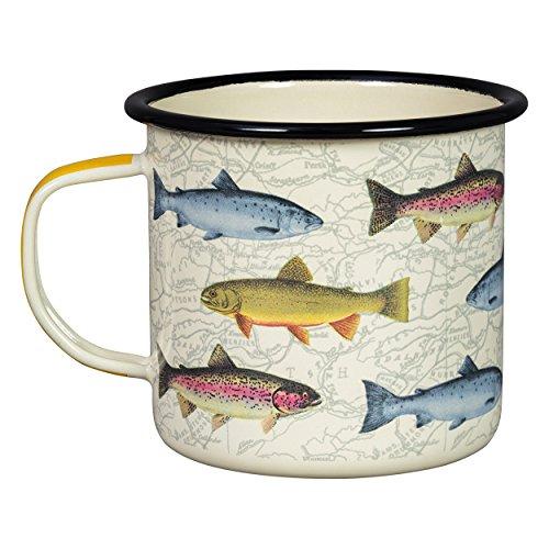Hook, Line, & Sinker Sportsman's Fishing Typography Camping Enamel Mug, White
