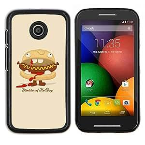 """Be-Star Único Patrón Plástico Duro Fundas Cover Cubre Hard Case Cover Para Motorola Moto E / XT1021 / XT1022 ( Ministro Divertido De Hot Dogs hamburguesa"""" )"""