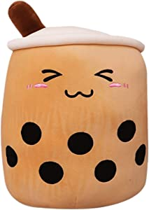 Bubble Tea Plush Pillow Toy Stuffed Body Pillow Plushie Cartoon Cup Shaped Pillow Doll, Cute Soft Hugging Pillow Back Cushion (Brown-Small Eyes, 50cm/19.68inch)