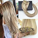Sunny 14inch Clip On Real Human Hair Extensions Dark Ash Blonde Highlight Bleach Blonde 7 piece 120G Two Tone Double Weft Hair Extensions