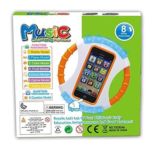 Kids Educational Learning Cell Phone Has Music-Games-Numbers-Fruits-Animals–Voice Tells When Your Child Answers Right or Wrong–Comes With A 30 Day Money Back Gruarantee