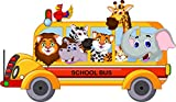 Animal Cartoon School Bus Home Decal Vinyl Sticker 14'' X 8''