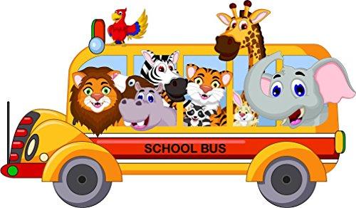 Animal Cartoon School Bus Home Decal Vinyl Sticker 14'' X 8'' by innagrom