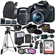 Canon EOS Rebel T7 Digital SLR Camera with Canon EF-S 18-55mm Image Stabilization II Lens, Sandisk 32GB SDHC M