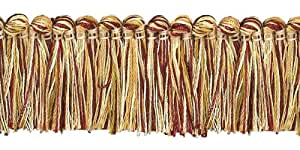 "Burgundy Red, Gold 1 1/4"" Imperial II Brush Fringe Style# 0150IB Color: BURGUNDY GOLD - 1253 (Sold by The Yard)"