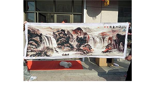 AIGUFENG Hecho a mano en punto de cruz producto terminado pintura pintoresca cornucopia paisaje sala bordado completo bordado bien,206 * 74 cm: Amazon.es: ...