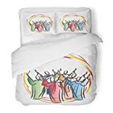 SanChic Duvet Cover Set Pentecost Descent The Holy Spirit in Form Tongues Fire Symbolic People Apostoles Abstract Decorative Bedding Set 2 Pillow Shams King Size