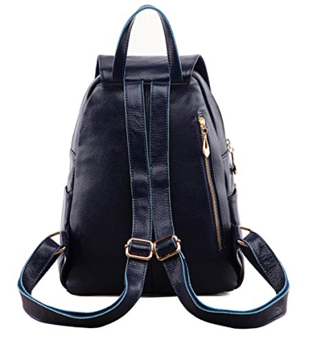 Women Leather Rucksack Travel Genuine Sapphire Bag Greeniris Backpacks Ladies EwqfPqI7