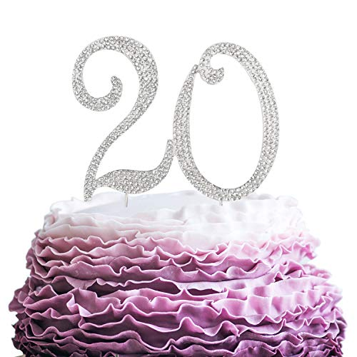 LINGPAR 20 Years Birthday Cake Topper - New Best Crystal Rhinestone 20th Wedding Anniversary Or 20 Years Old Cake Topper Party Decoration Silver