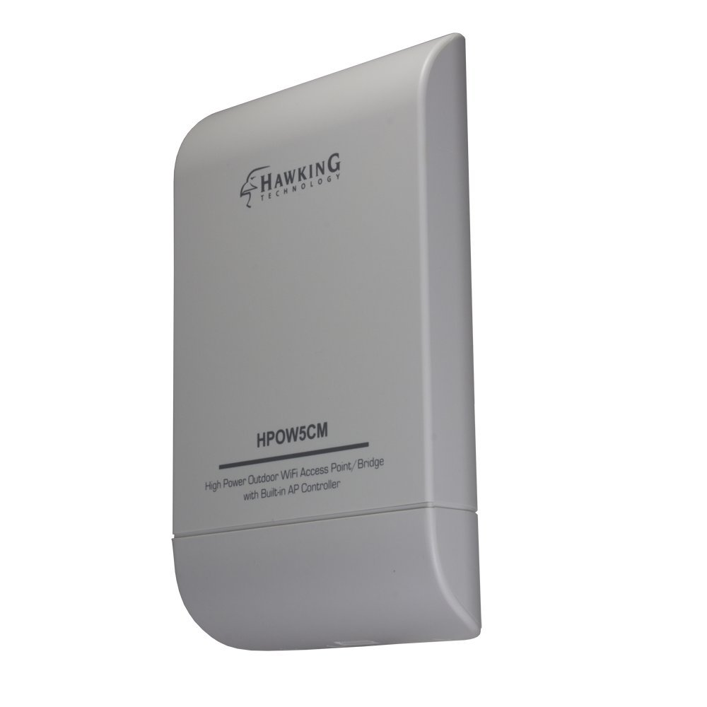 Hawking Technology High Power Outdoor Wi-Fi Access Point, Bridge with built-in AP Controller and PoE included (HPOW5CM)