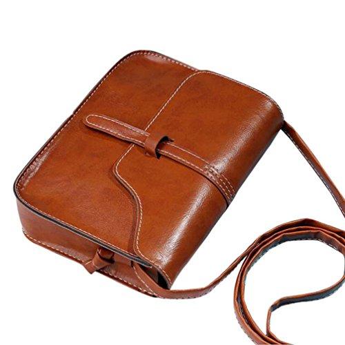 Sannysis Vendimia Bolso del monedero Cuero de PU Bolsa de mensajero cruzada del hombro del cuerpo,Mujer Bolsa de Hombro Messenger Bag Coin Bag Bolsa de Teléfono Totalizador (Beige) Marrón