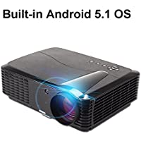 AOK 4500 Lumens Android 5.1 WIFI Wireless LED Bluetooth 4.0 Contrast Ratio 7000:1 1080p Projector Support DLNA/ Miracast/ Airplay for Home Theater Famous Projector Brand