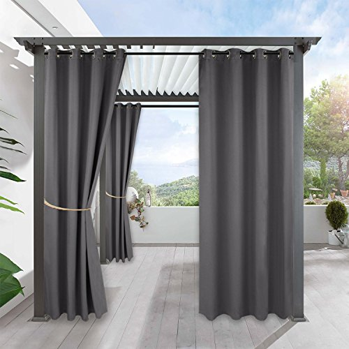 Outdoor Curtains Drapes for Porch - RYB HOME Water Repellent Exterior Wind Against Curtain Panel With Sliver Ring Grommet, Single Piece, Width 52 by Length 108 Inch, Grey
