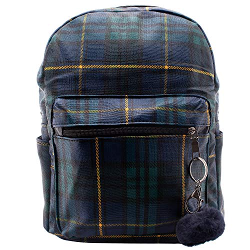 Plaid Mini Backpack for Women - Navy Blue Plaid Leather Backpacks - Various Colors