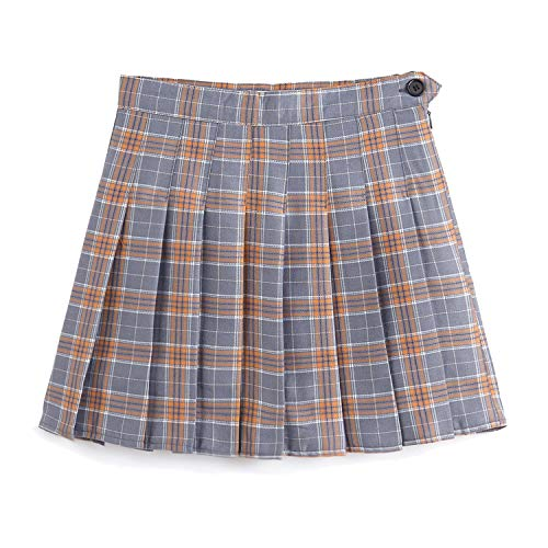 YOUGUE Women High-Waisted Pleated Mini Skirts with Shorts Underneath Plaid School Skirt Grey
