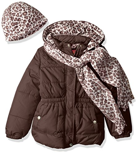Quilted Scarf - Pink Platinum Girls' Little Quilted Puffer with Hat and Scarf, Brown, 4