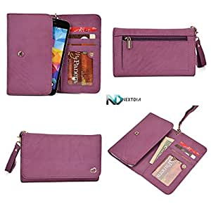 Womens Genuine Leather Wristlet Wallet Acer beTouch E100  Universal fit with Credit Card Slots and Removable Handstrap  Purple Hyacinth