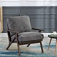 Mid-Century Retro Modern Fabric Lounge Chair, Comfy Upholstered Back Wooden Arm Chair for Living Room/Bedroom/