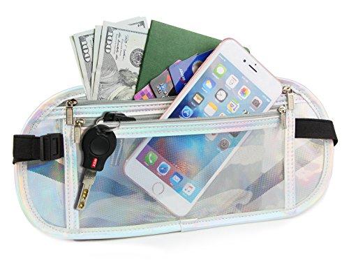Translucent Travel Belt, Waterproof Money Belt, Contrast Color Laser Shiny Waist Bag for Women, Men (Silver)