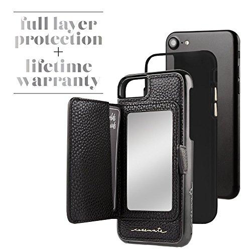 Case-mate Miroir compact Design de poche Housse avec fermoir magnétique Fermeture accessoire Idéal Boutons Métalliques pour iPhone 7S–Noir