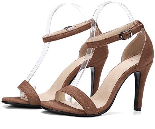 BIGTREE Women Sandals Peep Toe Stiletto Wedding Pumps Ankle Strap Dress Sandals Brown GPrdyH