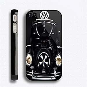 SUUER BLACK CASE Volkswagen Beetle VW Classic Design Skin Personalized Custom Hard CASE for iPhone 4 4s Durable Case Cover