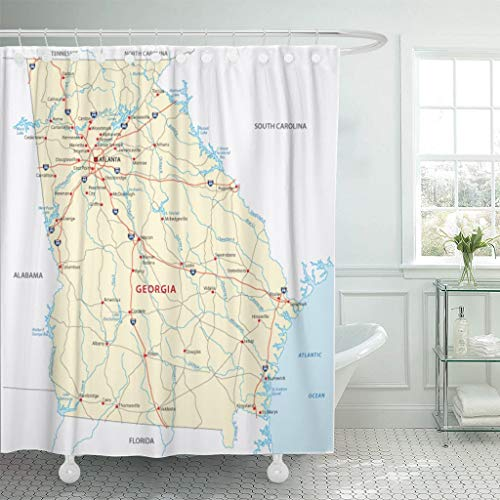 Emvency Fabric Shower Curtain Curtains with Hooks Blue Atlanta Georgia Road Map State Carolina USA Alabama South Interstate Savannah 72