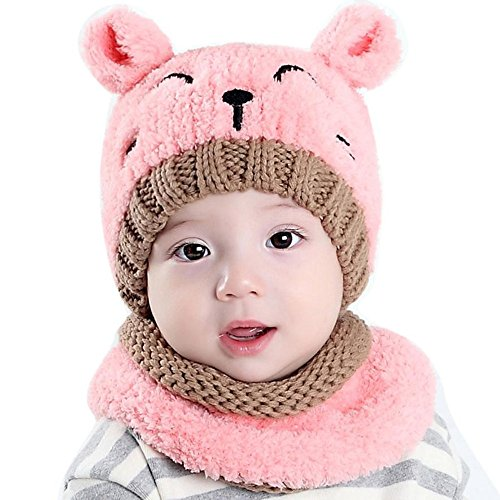 ZEYI Baby Girls Boys Warm Soft Knit Bear Hat Toddler Winter Crochet Beanie Cap Circle Scarf (2 Piece Sets) (Crochet Hat Beanie Cap)