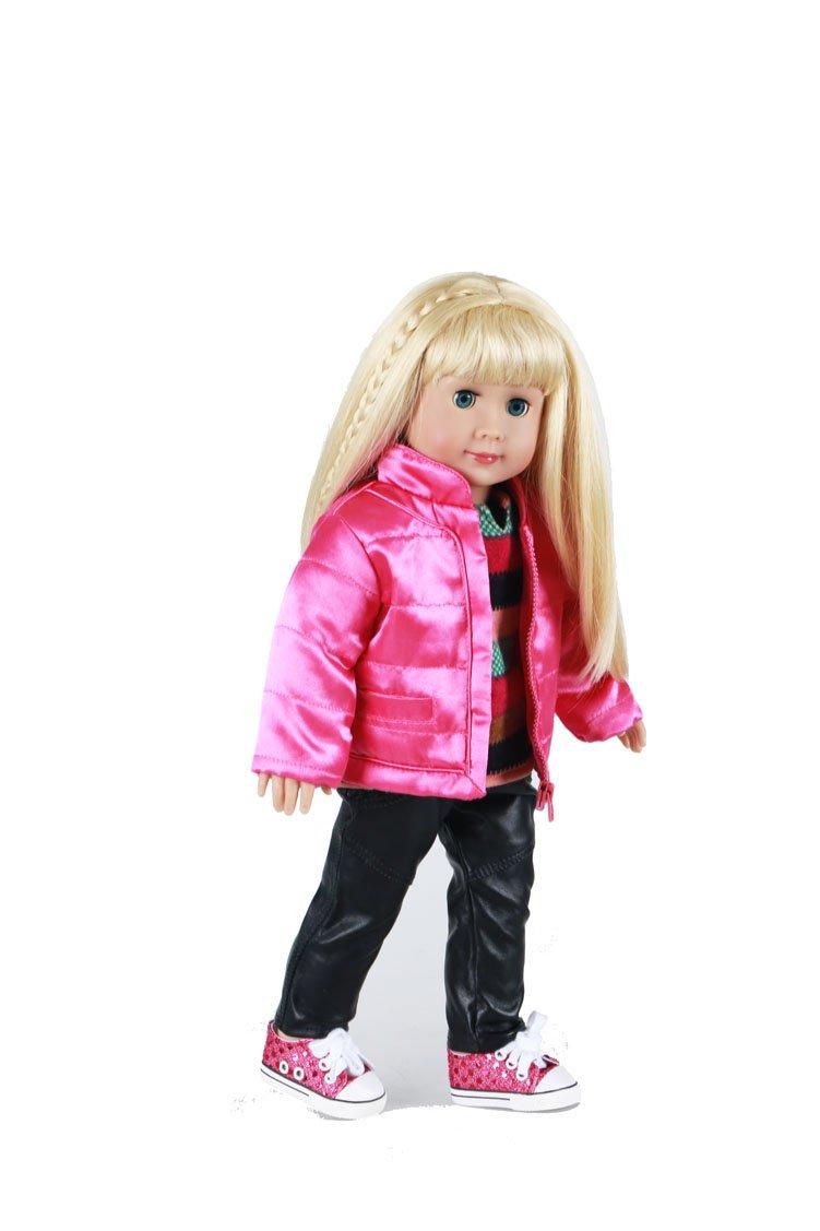 YAKADI Mode 18inch Puppe Kleider Und Schuhe Für Wurf Mädchen Weihnachtsgeschenk (pink1)