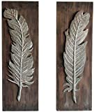 Urban Legacy Industrial Feather Wall Art, Set of 2 (Metal Feather Mounted on Weathered Wood) For Sale